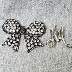 Sarah Coventry Vintage Letter M and Bow Brooch